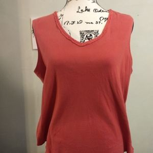 Coral Colored Sleeveless V-Neck Top
